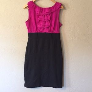 Pink and Black Work Dress